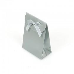 12 petites pochettes cadeaux bijoux argentées 7.5x4x10.5cm - 7778