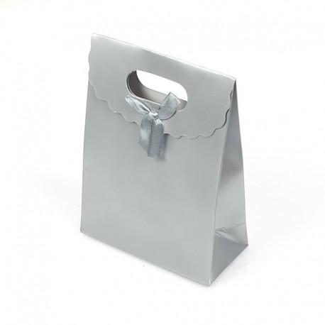 12 pochettes cadeaux cartonnées argentées 12.5x6x16cm - 7779