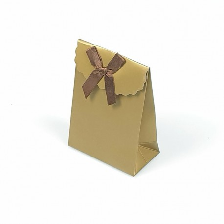 12 petites pochettes cadeaux bijoux dorées 7.5x4x10.5cm - 7780