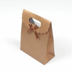 12 pochettes cadeaux cartonnées cuivrées 12.5x6x16cm - 7781