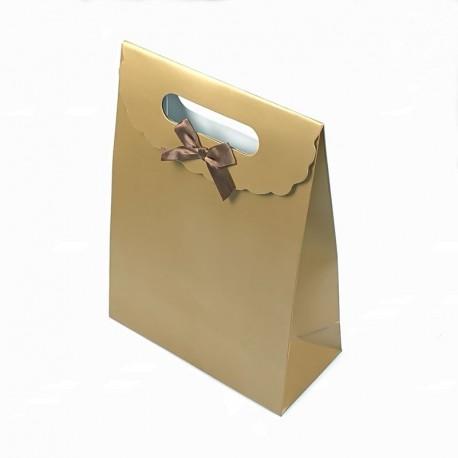 Lot de 12 boîtes cadeaux couleur dorée unies 19x9x27cm - 7783