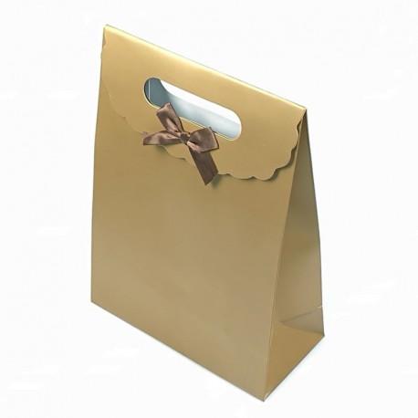 Lot de 12 grandes boîtes cadeaux couleur dorée 24x12x31.5cm - 7784