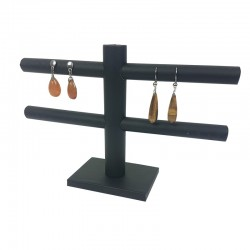 Présentoir en simili cuir noir pour boucles d'oreilles 2 rangées - 7773