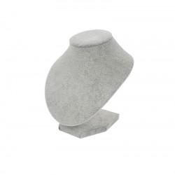Buste pour bijoux en velours gris pour ras de cou - 7786