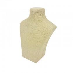Petit buste en raphia de couleur ivoire - 7787