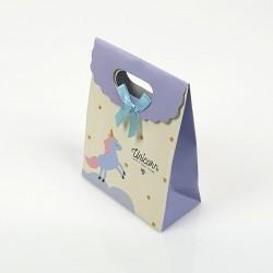 12 pochettes cadeaux écrue et bleu ciel motif Licorne 12.5x6x16cm - 7797