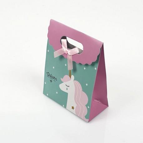 12 pochettes cadeaux vert turquoise et lilas motif Licorne 12.5x6x16cm - 7799