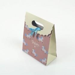 12 pochettes cadeaux vieux rose et écrue motif Licorne 12.5x6x16cm - 7800