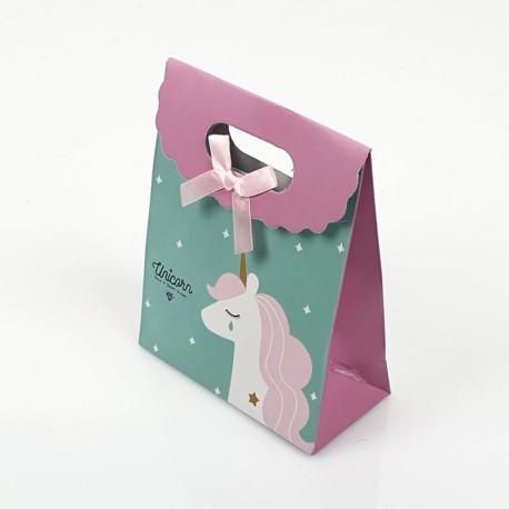 12 pochettes cadeaux cartonnées vert turquoise motif Licorne 19x9x27cm - 7803