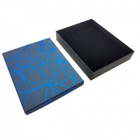 12 grands écrins bijoux pour parures bleu liseré bleu 16.5x12.5x3cm - 10089