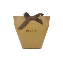"""12 petites boîtes cadeaux kraft à plier """"Merci beaucoup"""" 11.5x10x5.5cm - 7832"""