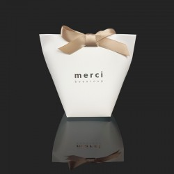 """12 petites boîtes cadeaux blanches à plier """"Merci beaucoup"""" 11.5x10x5.5cm - 7834"""