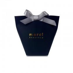 """12 petites boîtes cadeaux en kraft noir à plier """"Merci beaucoup"""" 11.5x10x5.5cm - 7835"""