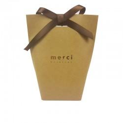 """12 boîtes cadeaux kraft à plier """"Merci beaucoup"""" 13.5x16.5x6cm - 7837"""