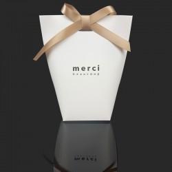"""12 boîtes cadeaux blanches à plier """"Merci beaucoup"""" 13.5x16.5x6cm - 7839"""