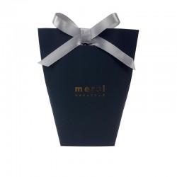 """12 boîtes cadeaux en kraft noir à plier """"Merci beaucoup"""" 13.5x16.5x6cm - 7841"""