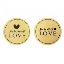 """Étiquettes cadeaux autocollantes """"Made with Love"""" - 7847"""