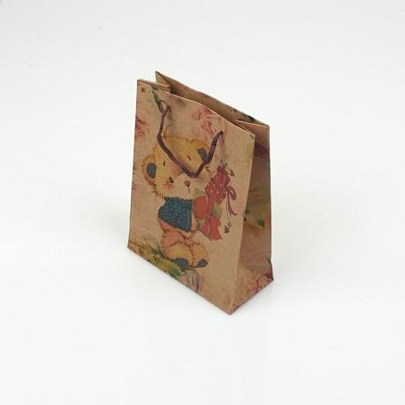 12 Petits Sacs En Papier Kraft Petit Nounours 11.5x5.5x14.5cm   7850