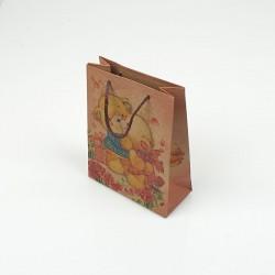 12 petits sacs en papier kraft motif petits oursons 11.5x5.5x14.5cm - 7851