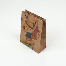 12 sacs cabas en papier kraft brun petits nounours 15x6x20cm - 7854