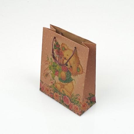 12 sacs cabas en papier kraft brun motif ourson 15x6x20cm - 7856