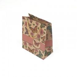 12 petits sacs en papier kraft papillons et roses 11.5x5.5x14.5cm - 7863