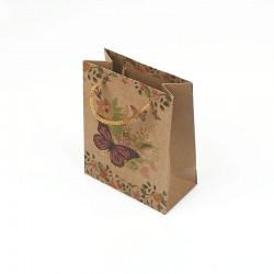 12 petits sacs en papier kraft motif papillons et fleurs 11.5x5.5x14.5cm - 7864