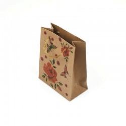 12 petits sacs en papier kraft papillons et fleurs 11.5x5.5x14.5cm - 7865
