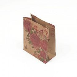 12 petits sacs en papier kraft illustration de roses 11.5x5.5x14.5cm - 7866