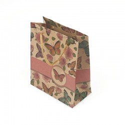 12 sacs cabas en papier kraft brun papillons et roses 15x6x20cm - 7867