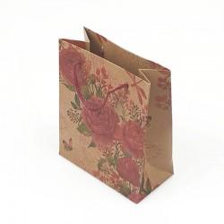 12 sacs cabas en papier kraft brun illustration de roses 15x6x20cm - 7870