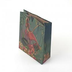 12 sacs cabas en papier kraft vert paysage tropical 15x6x20cm - 7882