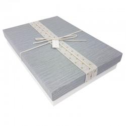 Boîte cadeaux bicolore blanche et grise 28x19x5cm - 7904