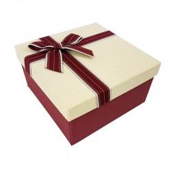 Coffret cadeaux bicolore rouge bordeaux et blanc crème 16.5x16.5x9.5cm - 7892p