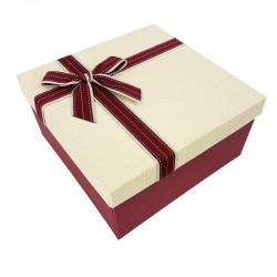 Coffret cadeaux de couleur rouge bordeaux et blanc crème 20.5x20.5x10.5cm - 7893m