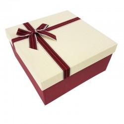 Grand coffret cadeaux bicolore de couleur rouge et crème 24.5x24.5x12cm - 7894g