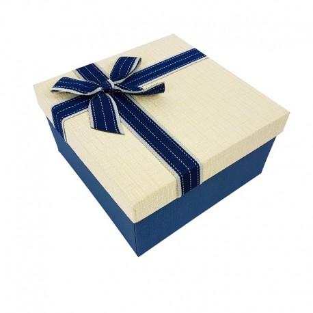 Petit coffret cadeaux bicolore bleu et blanc crème 16.5x16.5x9.5cm - 7895p