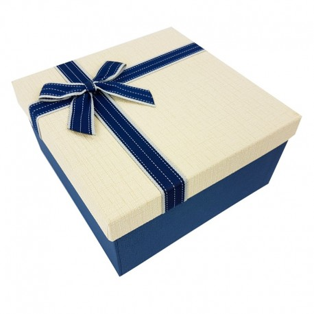 Coffret cadeaux de couleur bleue et blanc crème 20.5x20.5x10.5cm - 7896m