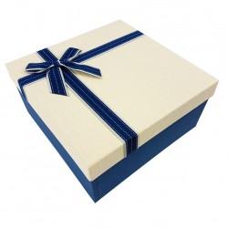 Grand coffret cadeaux bicolore de couleur bleue et crème 24.5x24.5x12cm - 7897g