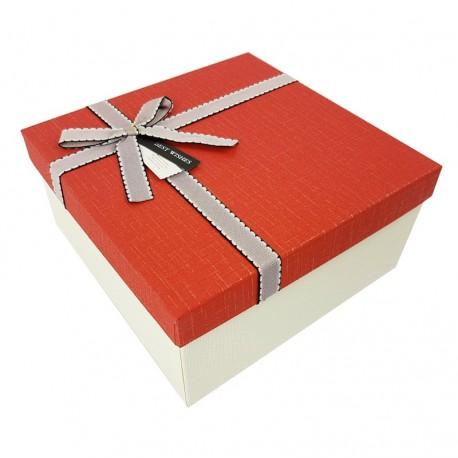 Coffret cadeaux de couleur blanc cassé et rouge 20.5x20.5x10.5cm - 7899m