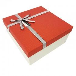 Grand coffret cadeaux bicolore de couleur blanc cassé et rouge 24.5x24.5x12cm - 7900g