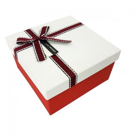 Coffret cadeaux bicolore rouge vif et blanc 16.5x16.5x9.5cm - 7901p