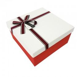 Coffret cadeaux de couleur rouge vif et blanc 20.5x20.5x10.5cm - 7902m