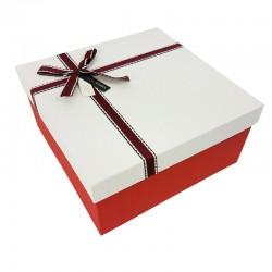 Grand coffret cadeaux bicolore de couleur rouge et blanche 24.5x24.5x12cm - 7903g
