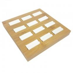 Présentoir plateau en bois pour 12 bagues - 7923