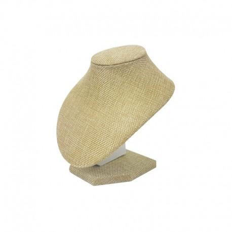 10 bustes pour bijoux en toile de jute beige pour ras de cou - 1797x10