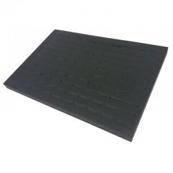 Présentoir plateau à bagues 3 positions en simili cuir noir - 7921