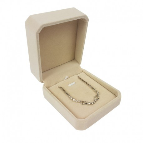 1 écrin en velours beige clair uni pour chaîne et pendentif - 10104