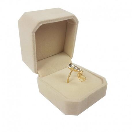 1 écrin en velours beige clair uni pour bague ou boucles d'oreilles - 10102