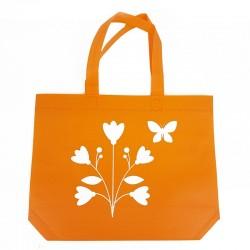 12 petits sacs cabas intissés oranges motifs fleurs avec soufflet 30+10x26cm - 7928
